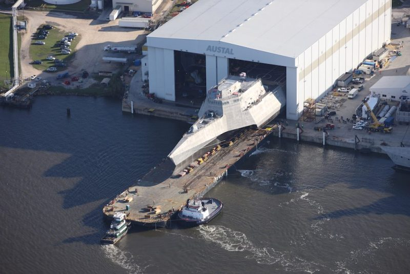 Launch of the USS Omaha in November 2015. Photo: Austal USA