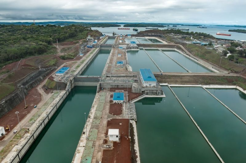 A look at the Third Set of Locks and water-saving basins as seen in May 2016. Credit: Panama Canal Authority