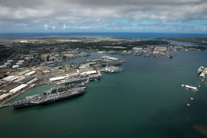 160706-N-SI773-115 JOINT BASE PEARL HARBOR-HICKAM (July 6, 2016) An aerial view of ships moored at Joint Base Pearl Harbor-Hickam for Rim of the Pacific 2016. Twenty-six nations, more than 40 ships and submarines, more than 200 aircraft, and 25,000 personnel are participating in RIMPAC from June 30 to Aug. 4, in and around the Hawaiian Islands and Southern California. The world's largest international maritime exercise, RIMPAC provides a unique training opportunity that helps participants foster and sustain the cooperative relationships that are critical to ensuring the safety of sea lanes and security on the world's oceans. RIMPAC 2016 is the 25th exercise in the series that began in 1971. (U.S. Navy Combat Camera photo by Mass Communication Specialist First Class Ace Rheaume/Released)