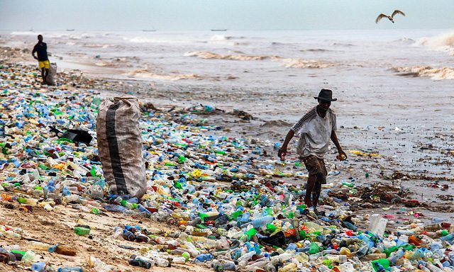 Plastic waste washed up on a beach in Ghana. Photograph: Christian Thompson/EPA