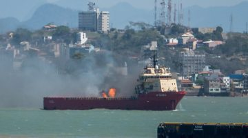 Video: Fire On Platform Supply Vessel in Brazil