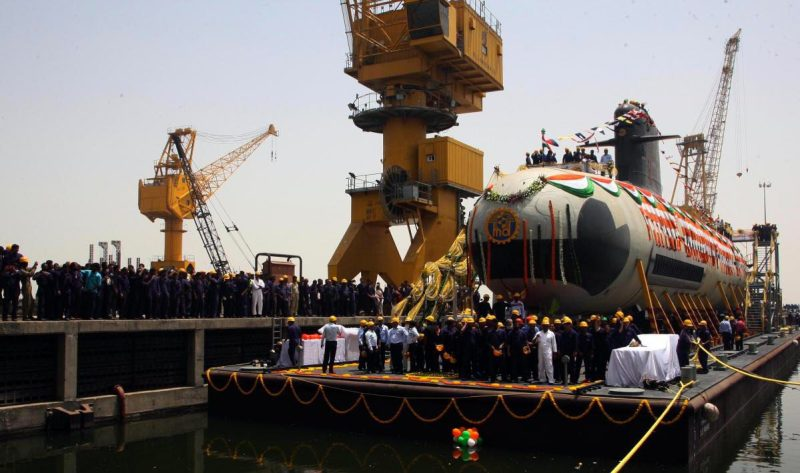 The Indian Navy's first SCORPENE® submarine INS Kalvari leaving DCNS' main building hall on 6 April 2015.