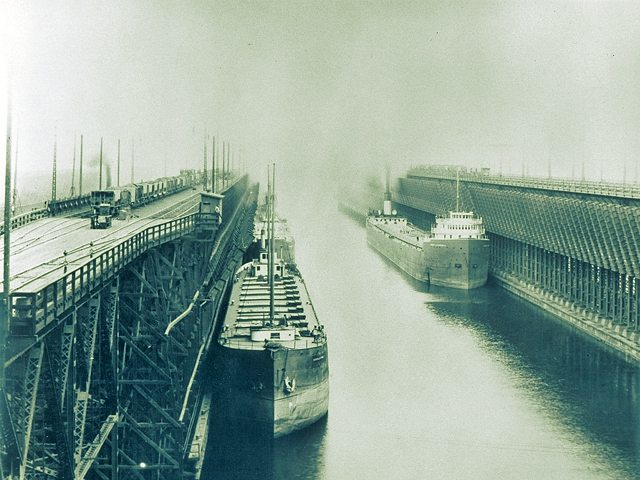 Freighters Taking on Ore at Duluth, MN