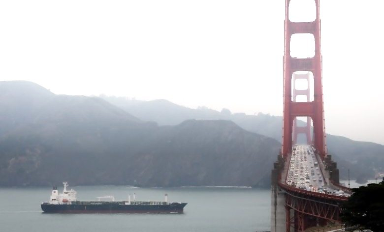 Oil Tanker Ship Passes Under San Francisco's Golden Gate Bridge