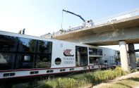 Cruise ship called 'Viking Freya' is seen after a collision with a bridge at Main-Donau-Kanal in Erlangen
