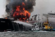 "Firefighters extinguish a fire on an oil tanker of Mexican state oil company Pemex named ""Burgos"" off the coast of Boca del Rio in Veracruz state, Mexico"