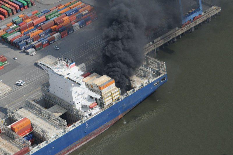 CCNI Arauco on fire at the port of Hamburg. Photo: Hamburg Water Police