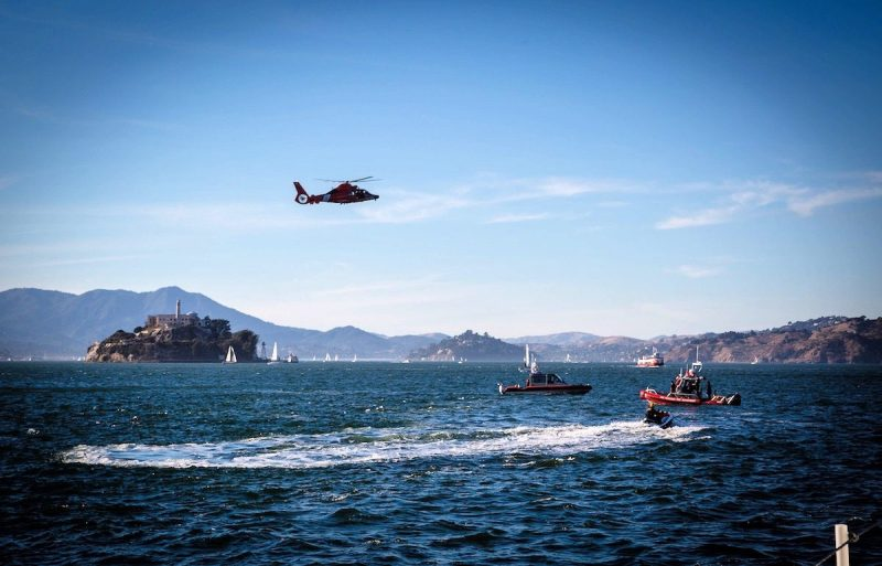 Several Coast Guard assets and partner agencies responded to a capsized sailboat in the San Francisco Bay, Saturday, Oct. 8, 2016. Courtesy photo by Martin Mickos