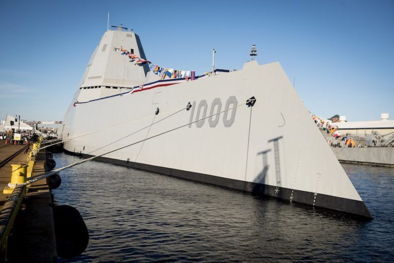 The Navy's newest and most technologically advanced warship, USS Zumwalt (DDG 1000), is moored to the pier during a commissioning ceremony at North Locust Point in Baltimore. U.S. Navy Photo