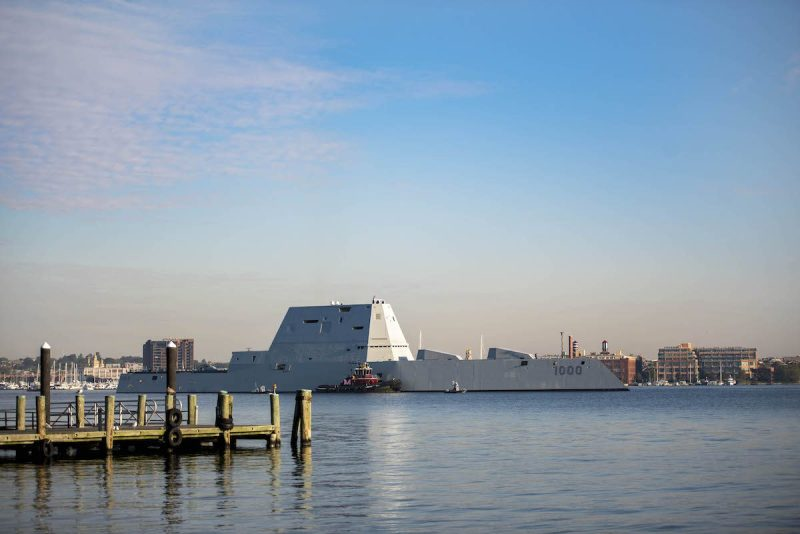 161017-N-NU281-026 BALTIMORE (Oct. 17, 2016) The guided-missile destroyer USS Zumwalt (DDG 1000) passes national historic site Fort McHenry as she departs Maryland Fleet Week and Air Show Baltimore (MDFWASB). MDFWASB provides the people and media of the greater Maryland/Baltimore area an opportunity to interact with Sailors and Marines, as well as see, firsthand, the latest capabilities of today's maritime services. (U.S. Navy photo by Petty Officer 3rd Class Justin R. Pacheco/Released)