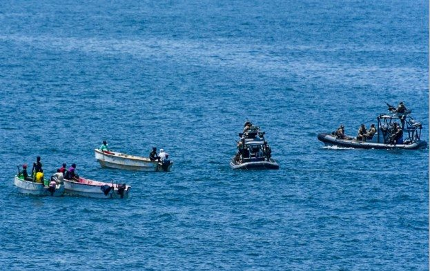 EU NAVFOR counter-piracy patrol conducts a friendly approach on a number of Somali fishermen not far from the coast. Photo: EU NAVFOR