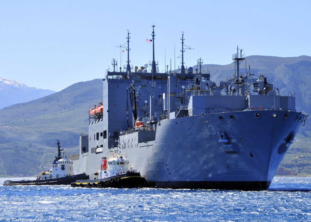 The Military Sealift Command dry cargo and ammunition ship USNS Medgar Evers (T-AKE 13) conducts a berth shift during a port visit. Medgar Evers has a crew of 125 civil service mariners working for Military Sealift Command and 11 U.S. Navy Sailors who provide operational support and supply coordination. (U.S. Navy photo by Paul Farley/Released)