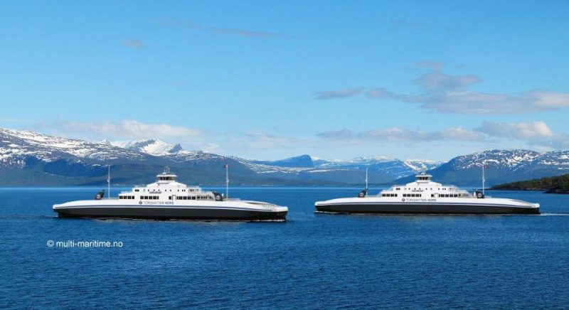 An illustration shows the LNG-powered car and passenger ferries for