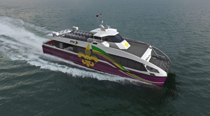 Rendering of the 105' 149-passenger aluminum catamaran vessel that Metal Shark will produce under a two-boat contract for The New Orleans Regional Transit Authority.