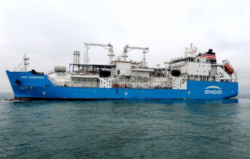 The ENGIE Zeebrugge will run on LNG for her maiden voyage, after a few days of loading LNG delivered by trucks at the shipyard.