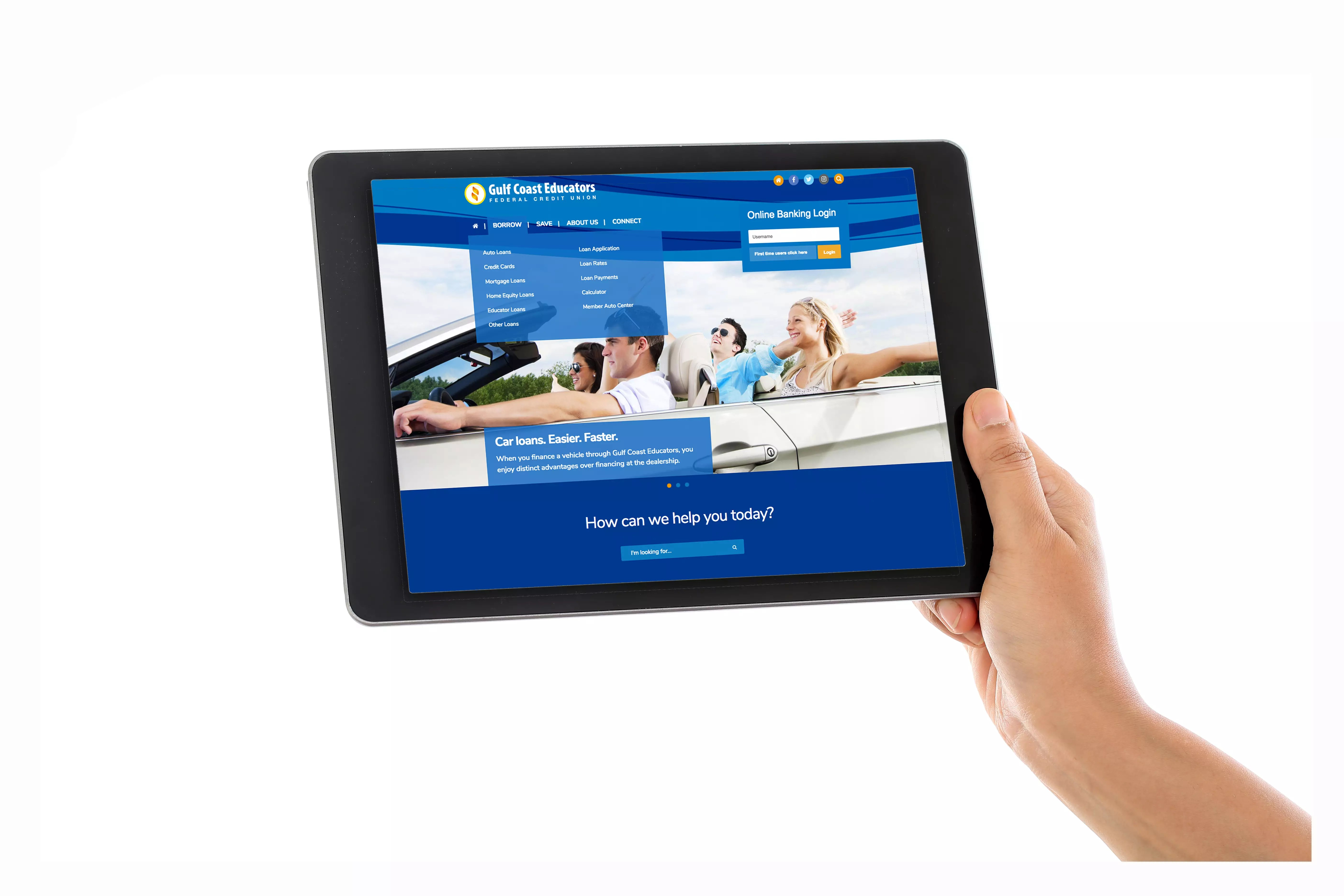 Der Tablet Gulf Coast Educators Federal Credit Union Holding Tablet