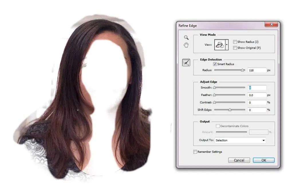 Change Hair Colour - Refine Edge Brush Tool