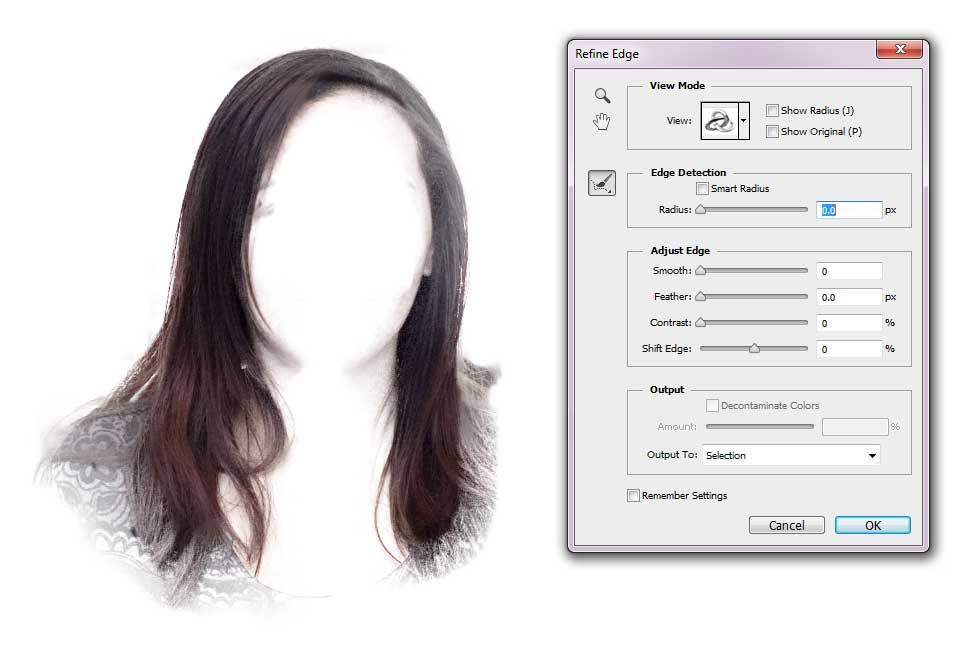 Change Hair Colour - Precise Refine Edge Tool