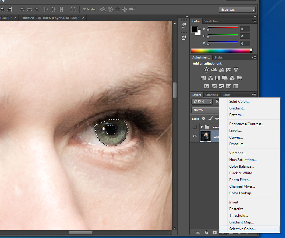 Change eye color in photoshop CC (also in CS6) - selective color adjustment layer