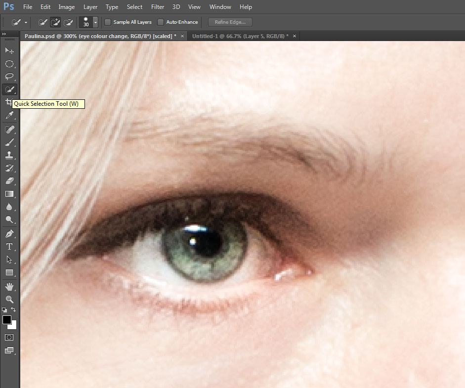 Change eye color in photoshop CC (also in CS6) - quick selection tool