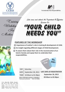 """Upcoming Event: Training Workshop for Parents – """"Your Child Needs You"""""""
