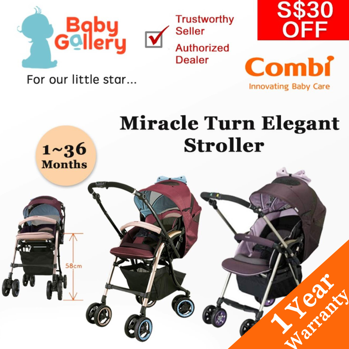 Combi Stroller Models Combicombi Miracle Turn Elegant Stroller A Type Baby Stroller 1 Month To 36 Months Free Delivery