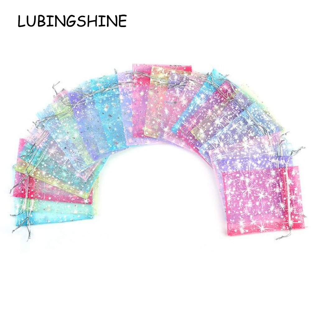 Wholesale Jewelry Packaging Lubingshine 50pcs Lot Organza Gift Bags Strap Drawstring Candy Pouches Wholesale Jewellery Packaging