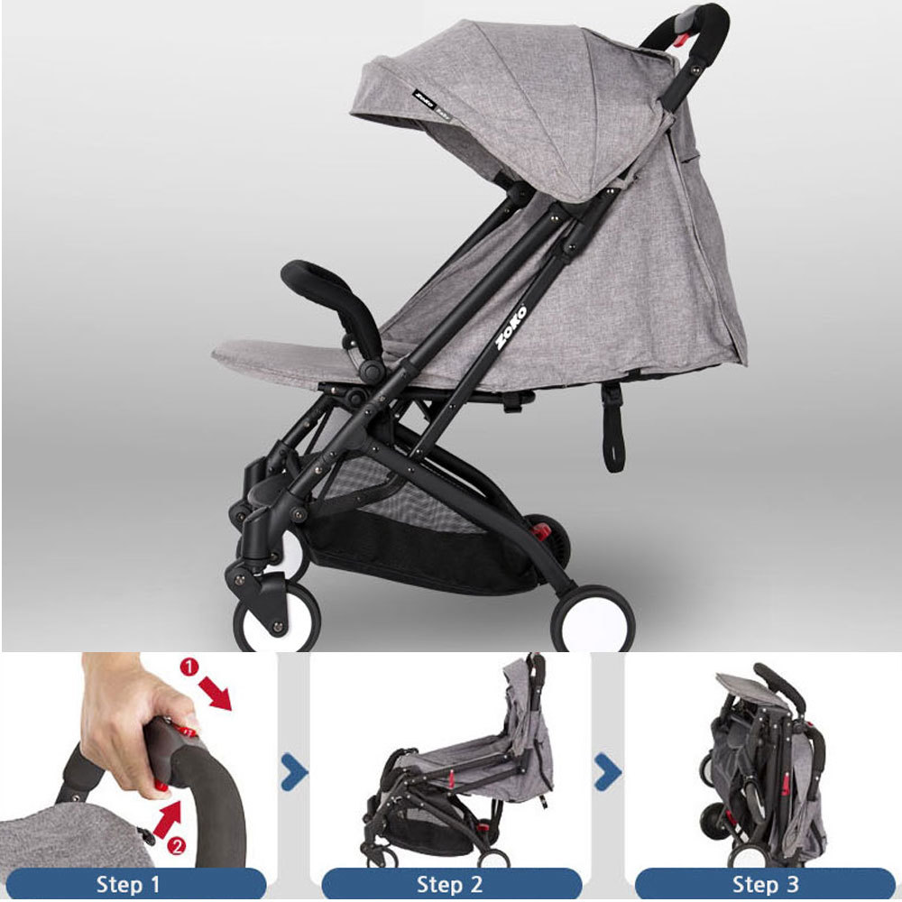 Lightweight Folding Pram Baby Light Weight One Touch Folding Stroller Back Reclining