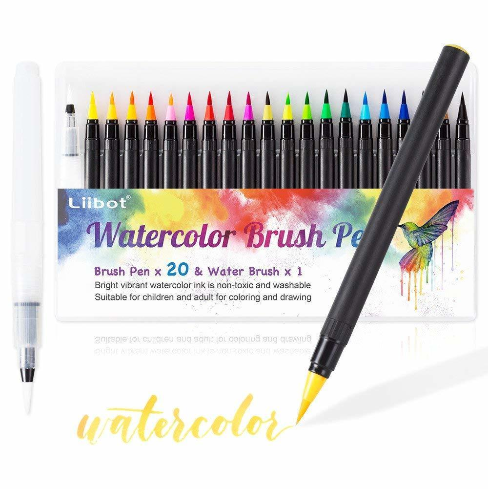 Colored Water Brush Liibot Watercolor Brush Marker Pens 20 Colored Pens Set And 1 Water Coloring Brush With Soft Flexib