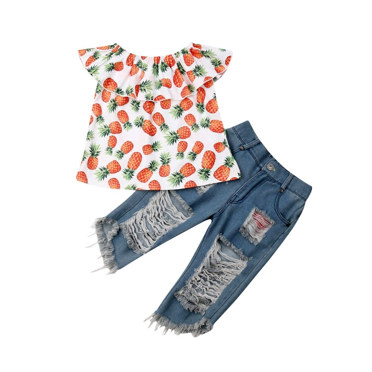 Baby Pineapple Pen Shop New Toddler Kids Baby Girl Pineapple Print Tops Ripped Denim Long Pants Outfits Set