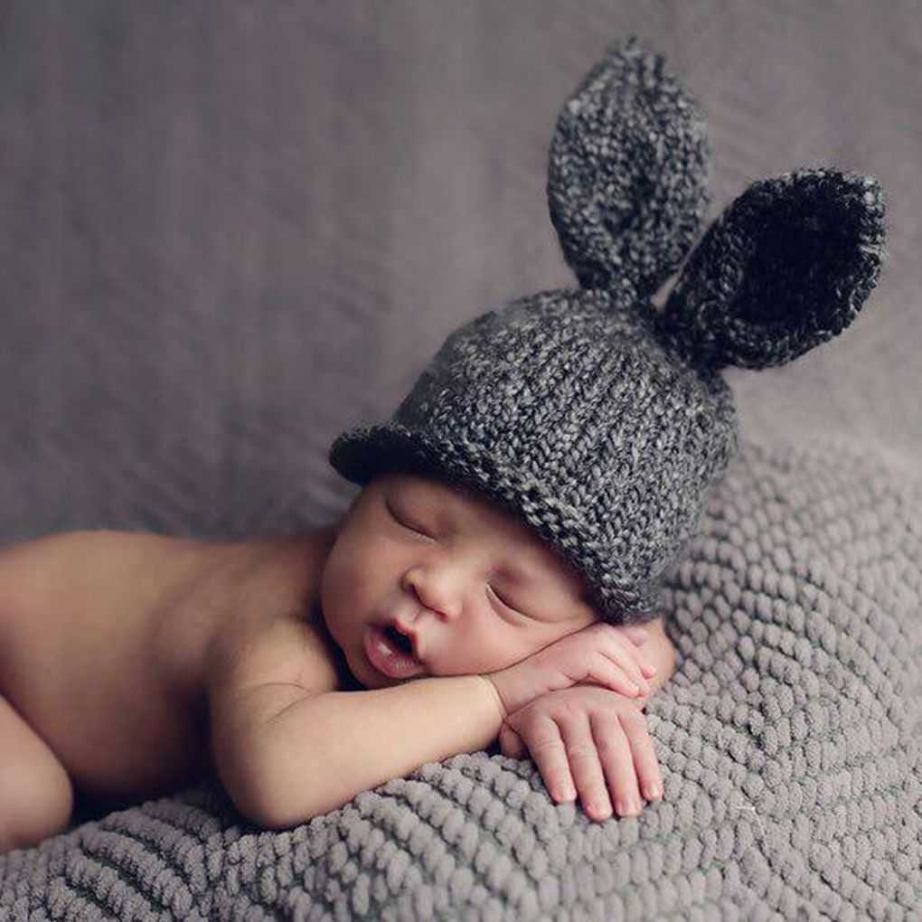 Newborn Babies Online Shopping Online 6 Months Newborn Baby Rabbit Hats Photo Props Bunny Ear Crochet Knit Cap Beanie Hat Infant