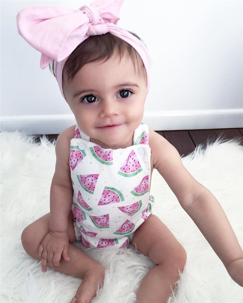 Newborn Babies Online Shopping Online Adorable Infantil Toddler Newborn Baby Girl Watermelon Fashion Romper Headband 2pcs Outfits