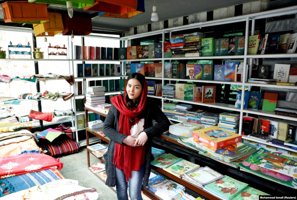 """Zarghona Haidari, 22, works at a book store. """"I'm not very optimistic about peace. I don't think the Taliban will make a deal with the government."""""""