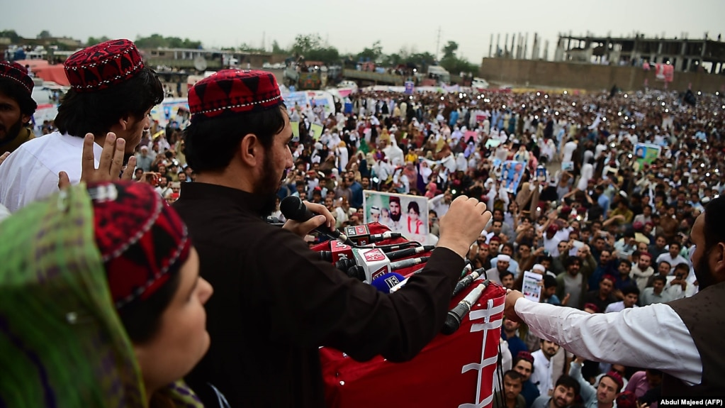 Manzoor Pashteen, leader of the Pashtun Tahafuz Movement, addressing a protest gathering in Peshawar on April 8.