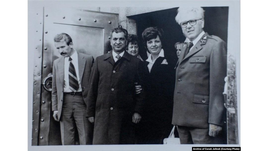 Karmal (second left) with Jiri Jelinek (right), the state forest director for the Kraslice region, near Sindelova in 1978-79.