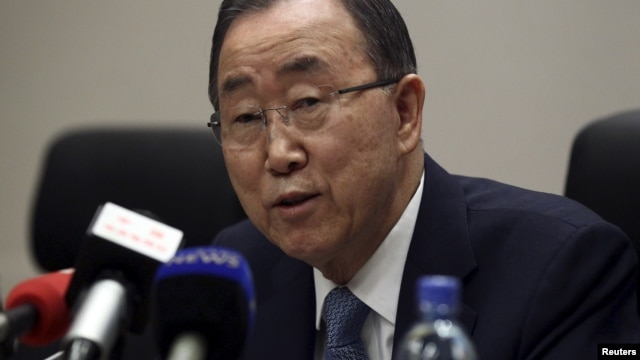 United Nations Secretary General Ban Ki-moon addresses a news conference during the 26th Ordinary Session of the Assembly of the African Union (AU) at the AU headquarters in Addis Ababa, Jan. 31, 2016.