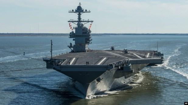 Tàu USS Gerald R. Ford đã được Hải quân Mỹ chính thức đưa vào sử dụng (ảnh do Hải quân công bố tháng 4/2017)