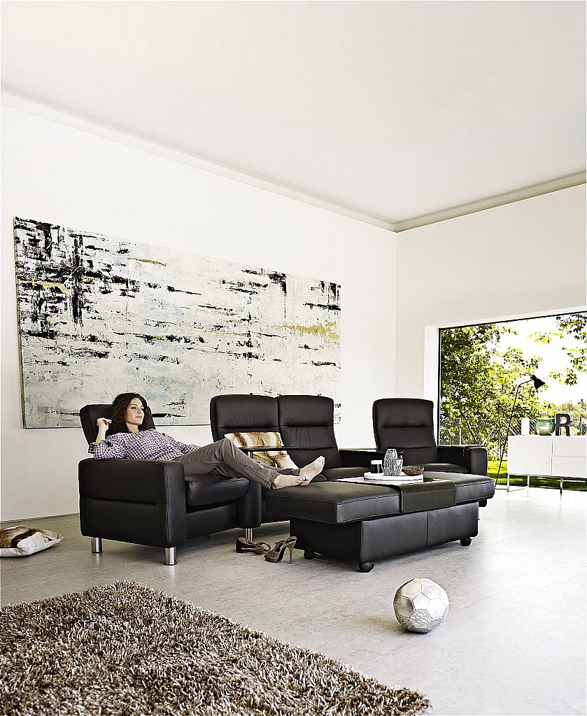 Stressless Paloma Stressless Wave Sofa And Chairs In Paloma Black Steel Legs