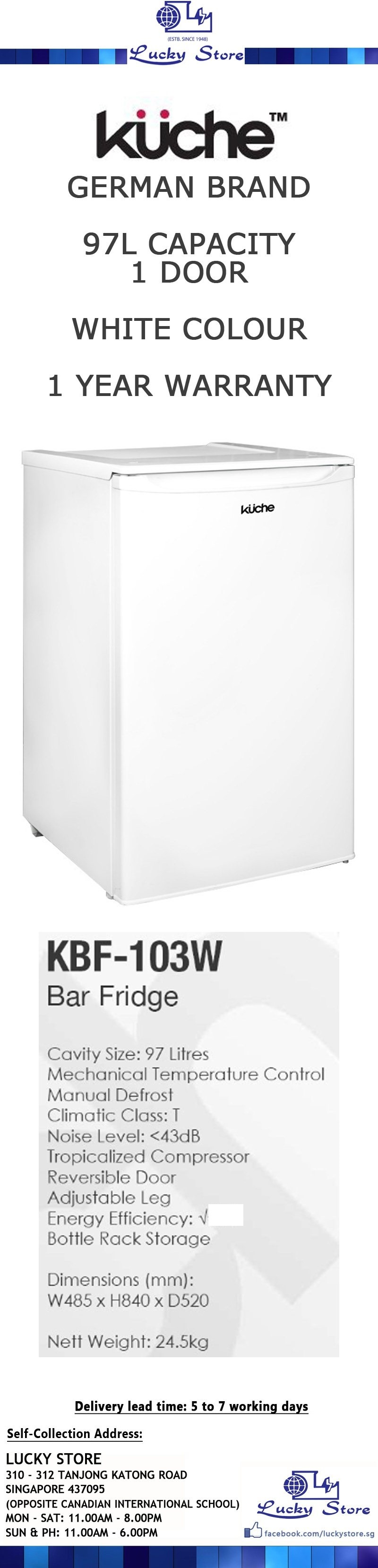 Kuche Top Mount Bar Fridge Kuche Bar Fridge Singapore