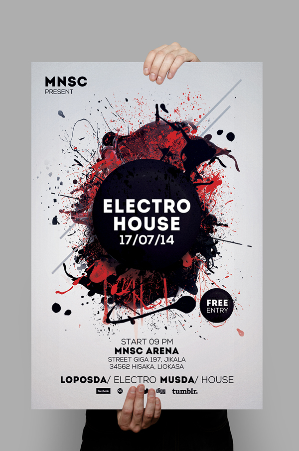 Modern Party Flyers Templates Design Graphic Design Junction - electro flyer