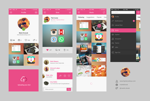 Free Flat Psd Templates and Web Elements For UI Design Freebies - free app template