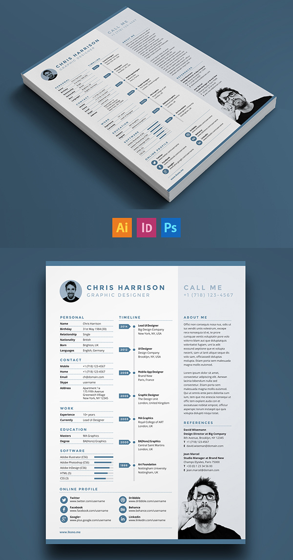 Free Modern Resume Templates  PSD Mockups Freebies Graphic - graphic designer resume template