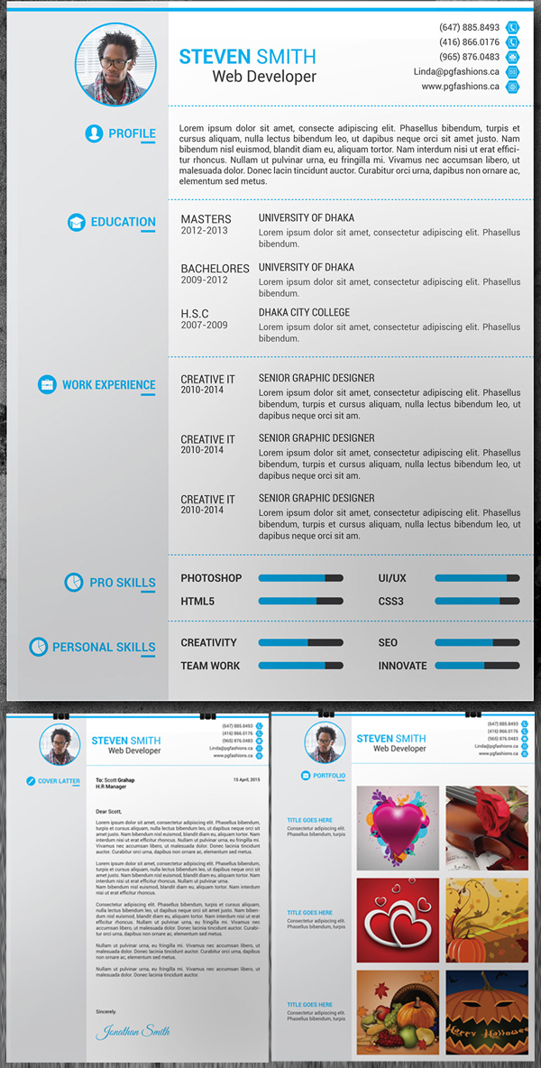 15 Free Elegant Modern CV / Resume Templates (PSD) Freebies - It Professional Resume Template