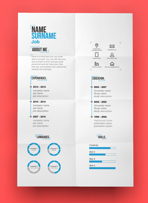 15 Free Elegant Modern CV / Resume Templates (PSD) Freebies - graphic design resume template