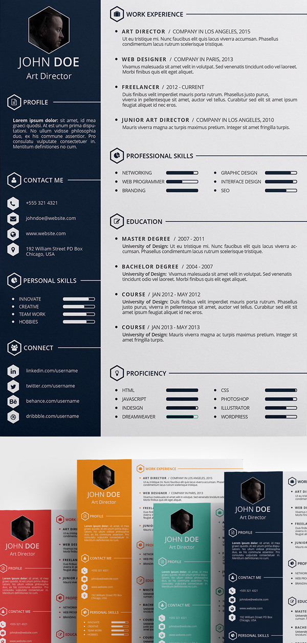 creative cv templates free download psd
