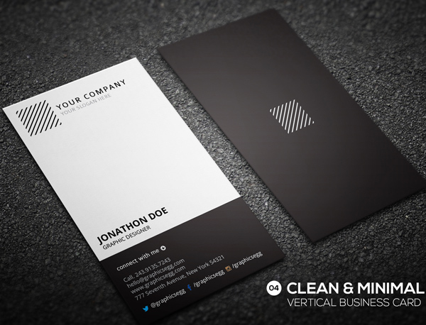 30 Minimalistic Business Card Designs (PSD) Templates Design - portrait business card