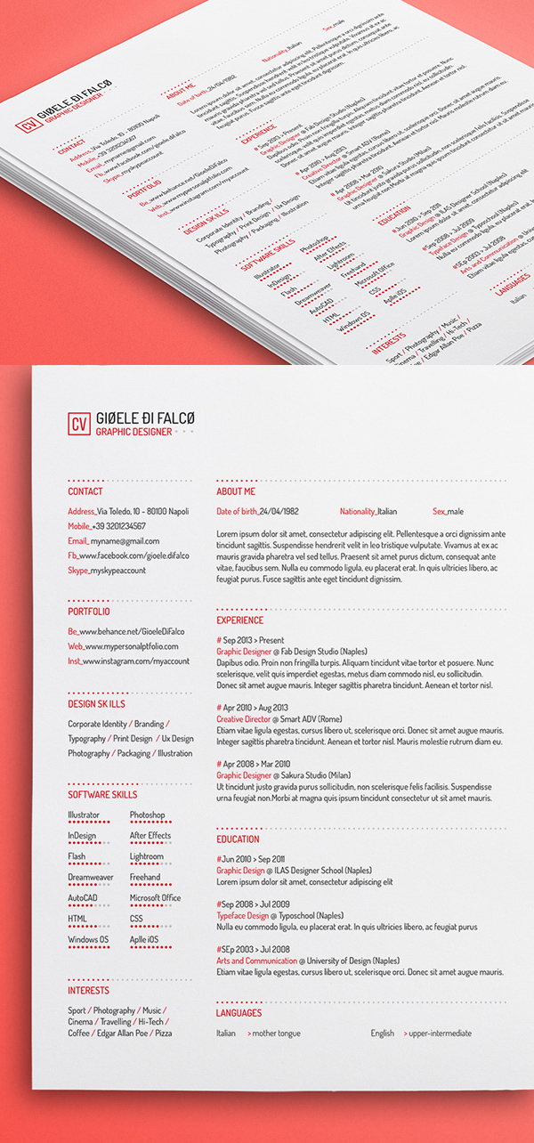 Free Professional CV/Resume and Cover Letter PSD Templates - professional resume template free