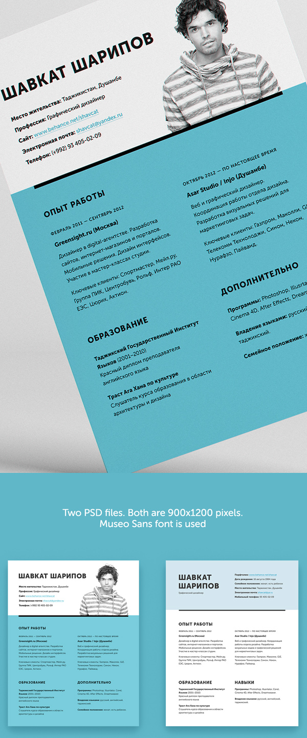 cv template psd free download