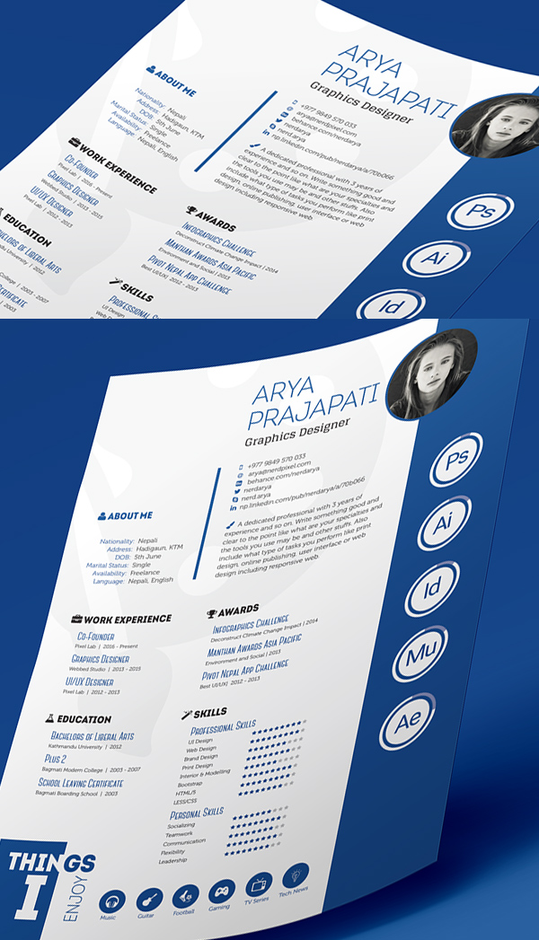 Free Professional CV/Resume and Cover Letter PSD Templates - indesign resume templates