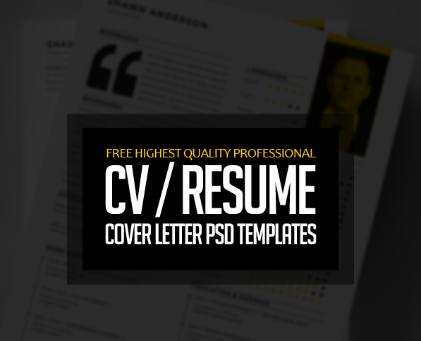 Free Professional CV/Resume and Cover Letter PSD Templates - free resume cover letter templates